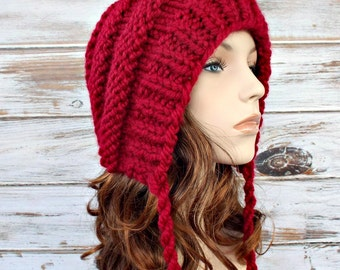 Knit Hat Red Womens Hat Red Ear Flap Hat Beanie - Georgette Beehive Bonnet Hat in Cranberry Red Knit Hat - Womens Accessories Winter Hat
