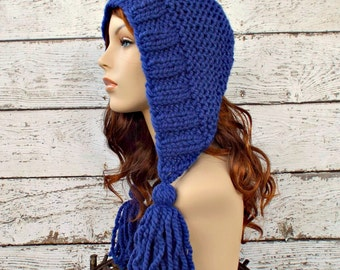 Knit Hat Womens Hat Knit Hood Ear Flap Hat - Tassel Hat in Cobalt Blue Knit Hat - Blue Hat Womens Accessories Winter Hat