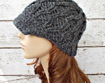 Knit Hat Womens Hat Grey Newsboy Hat Grey Beanie - Amsterdam Cable Beanie with Visor Granite Grey Hat Womens Accessories