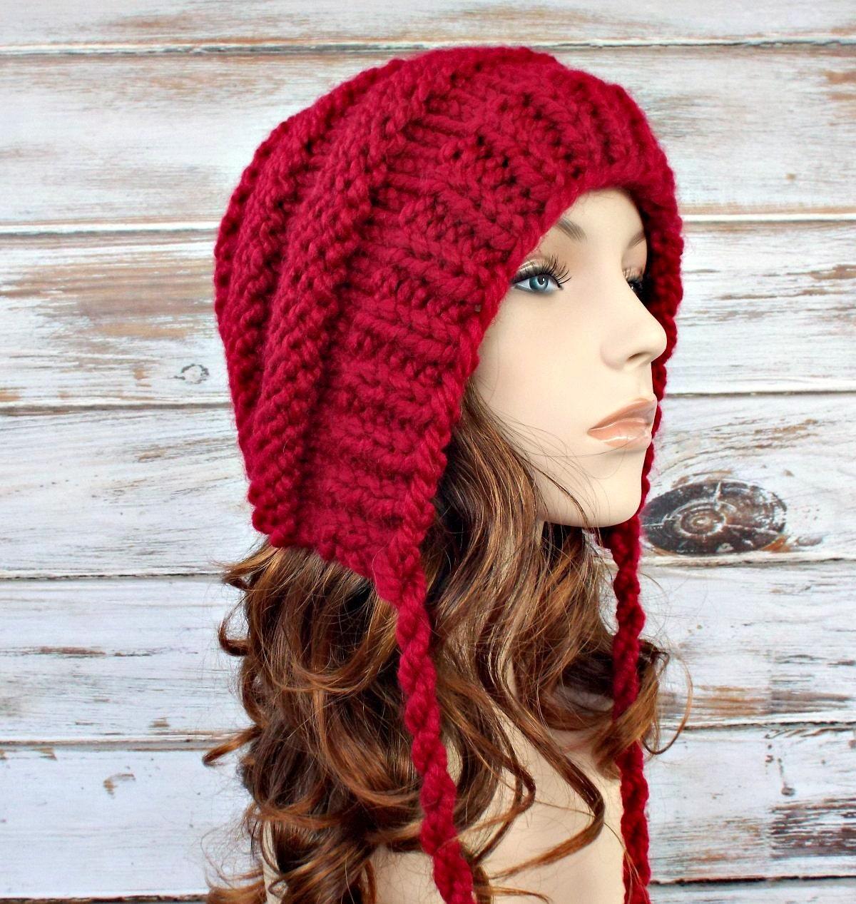 Knitting Women S Hats : Knit hat red womens ear flap beanie georgette