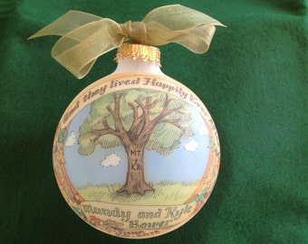 Beautiful Oak Tree Wedding Personalized Ornament, Personalized, Handpainted, Totally Original, WITH DISPLAY STAND