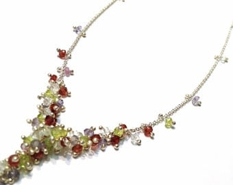 Cascading Clustered Wisteria Necklace in Sterling Silver with Rainbow Gemstones