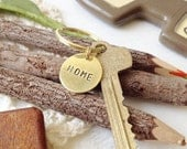 CUSTOM Hand Stamped Metal Brass Key Ring