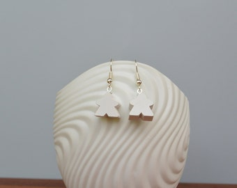 White mini Carcassonne meeple earrings with nickel-free silverplated earwires