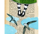 Learning to fly - Print - Girl in green dress flying with birds illustration