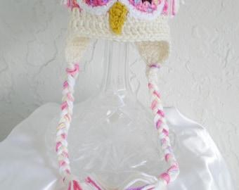 Crochet Baby Owl Hat, Photo Prop,  baby accessories, baby shower gift animal hat  bird hat ~ owl girl baby ~  - made to order