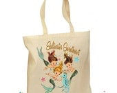 """Mermaid Bag Personalized Tote Retro Gift Canvas """"Saltwater Sweetheart"""" Vintage"""