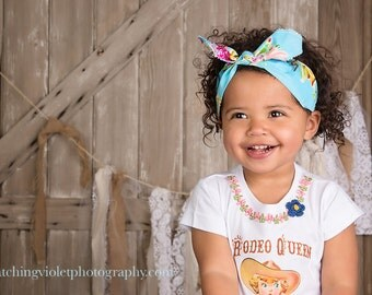 Shabby Floral Headband Rodeo Queen Retro Custom Top Knot M2M