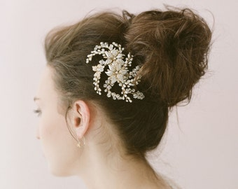 Bridal crystal hair comb, headpiece - Flower, crystal and freshwater pearl spray comb - Style 406 - Ready to Ship