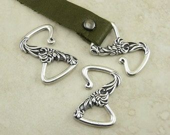 2 TierraCast Floral Z Hook Leather Clasps - Flower Garden Spring Mothers Day Fine Silver Plated Lead Free Pewter I ship Internationally 6197