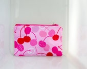 Cheery Cherry Make Up Bag, lined pouch, lined makeup pouch, plastic lined bag, zippered bag, zippered pouch, zippered makeup bag