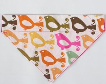 cute dog bandana, fun dog bandana, small reversible dog bandana, dog accessories, dog collar, dog scarf, slip on dog bandana,retro, birds