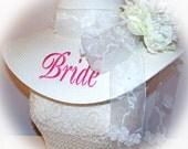 Monogrammed Bridal Bride Wedding Party Floppy Hats. Mother of Bride, Sister of Bride,  Colors,