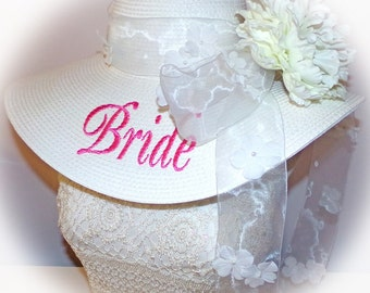Monogrammed Bridal Bride Wedding Party Floppy Hats. Mother of Bride, Sister of Bride,  Colors,