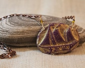 Purple Clipper Ship Necklace