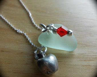 Hot For Teacher - Sea Glass Jewelry - Beach Glass Cluster Necklace by Sea Find Designs