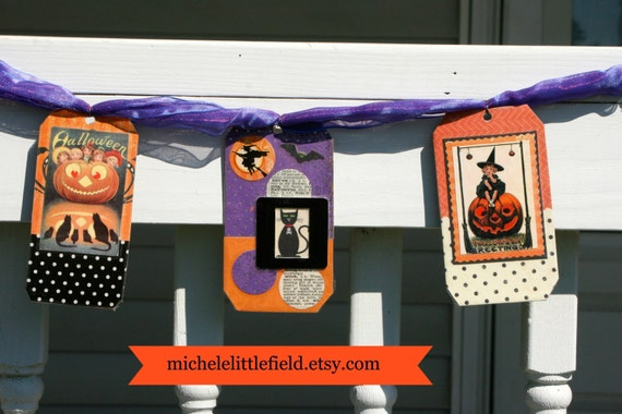 Halloween Collage Tag Garland With Pumpkins Cats And Witches ON SALE