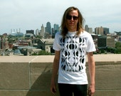 KC Tribal T-shirt, Black print/white shirt, Kansas City