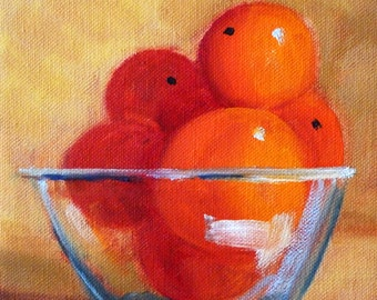 Original Still Life Oil Painting, Orange Fruit Bowl, Glass Still Life, 6x6 Stretched Canvas, Small Kitchen Art, Wall Decor, Citrus Tangerine