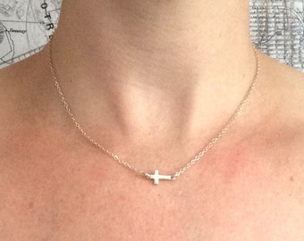 Tiny sideways cross sterling silver necklace