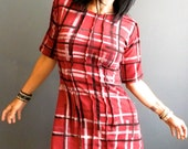 Stories from the City - iheartfink Handmade Hand Printed Womens Wearable Art Red Plaid Print Jersey Tunic Top