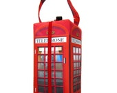 Boxy Bag Knitting Project Bag, British Telephone Box