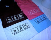 NErDy T-shirt Embroidered in Periodic Table Letters Short Sleeve T   Made to Order
