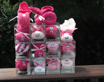 12 Baby Shower Favors Bunnies Ice Pack Boo-boo Bunny Embroidered Set of 12 Baby Safe PINKS