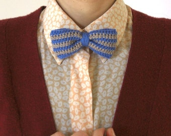 Bow Tie - Blue and Beige Stripes
