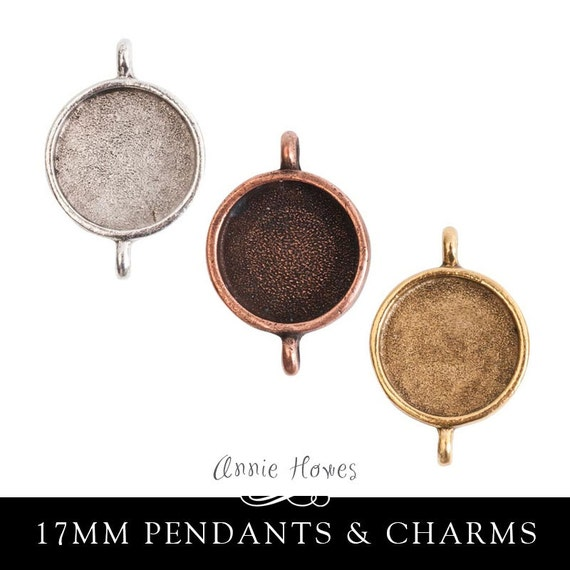 17mm Circle Photo Jewelry Pendant or Charm Double Link Setting. 3 Color Options. Sold as single.