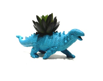 Dinosaur Planter Sea Side Blue for Succulent Plants and Small Cacti