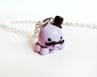 Purple Octopus Gentleman Charm Necklace Polymer Clay Jewelry