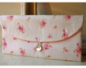 Bridesmaids Clutch purse pink rose Tommy Hilfiger Bridal Wedding Shabby chic bag Gift Giving Make Up Travel Gadget ,Gift Under 25