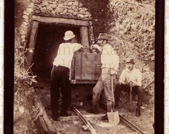 Antique Cabinet Card - Unusual and Rare - Outdoor Scene of Three Miners at the Entrance to a Mine - American Gold Rush