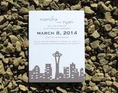 Seatle Skyline Save the Date Card