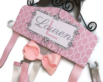 HAIR BOW HOLDER - Personalized - Pink and Gray Moroccan - organizer for Bows - Bow and Clip hanger Personal grey Hair Bow Hanger head band