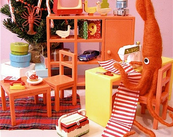 Print: Mr. Squid, a Crafter - Art Wall decor Sewing Plush Miniature Diorama Photograph craft holiday christmas