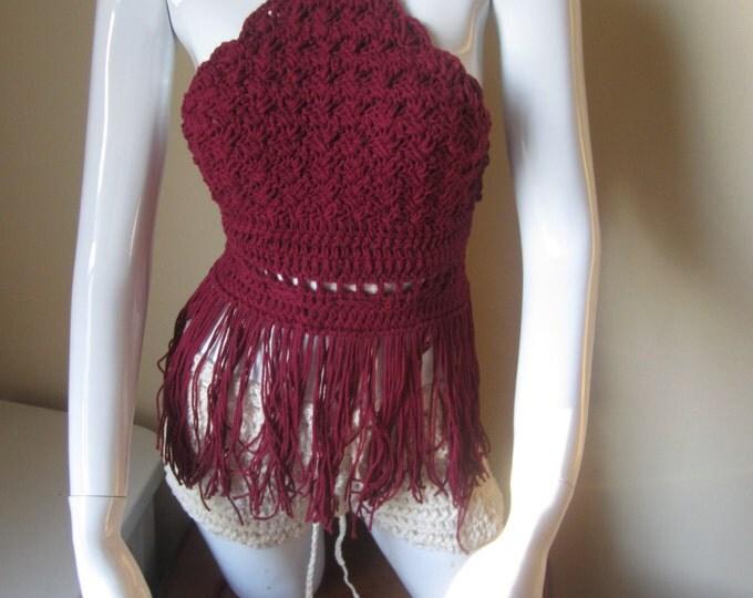 Fringe top halter,  crochet halter top, halter top, BURGUNDY, festival clothing, beach cover, Bohemian, gypsy, retro, cotton