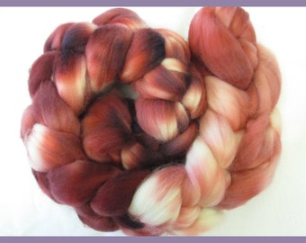100% Merino Top Roving for Hand Spinners, Hand Dyed, Victorian Rose Gradient