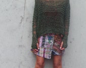 women's green sweater green lightweight oversized looseknit grunge sweater LTD Edition in this shade