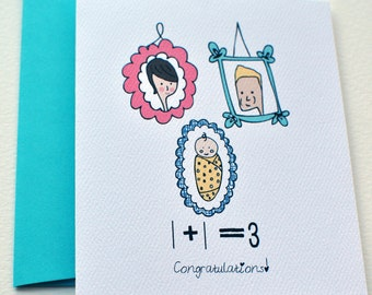Baby Congratulations Greeting Card 1+1=3! Blue for Boy