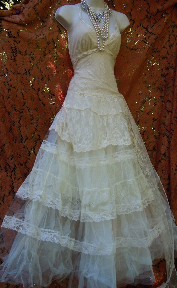 Boho Lace Wedding Dress Etsy : On sale ivory boho wedding dress tiered lace vintage tulle bride