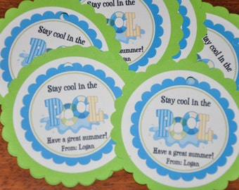 Favor Tags. End of school. Summer Tags. Pool. Pool Party. Swimming. Set of 12