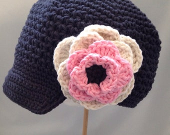 "Crocheted Newsboy Hat ""The Annie Lin"" Charcoal, Country Pink, Ivory, Brimmed Hat Visor Beanie Trendy Skater"