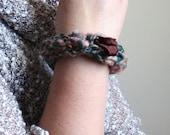 Bohemian knit Bangle Bracelet. Brown. Green. Peach. Textile bracelet. Boho Chic.