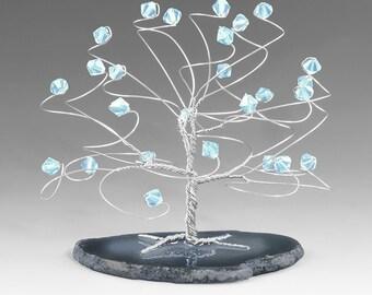 Aquamarine and Silver March Birthstone Tree Sculpture Swarovski Crystal Elements