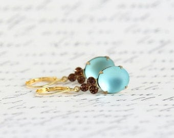 Blue Vintage Jewel Earrings, Blue and Brown Glass Earrings, Drop Earrings, Glass Earrings, Wedding Jewelry, Bridesmaids Gifts