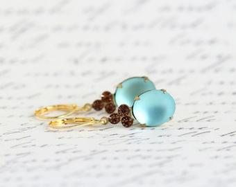 Blue Wedding Earrings, Blue Glass Earrings, Turquoise Dangle Earrings, Wedding Jewelry, Bridesmaids Gifts, Blue Prom Earrings, Gift For Her