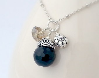 Multi Charm Necklace Black Onyx and Silver Necklace Basic Black Sterling Silver
