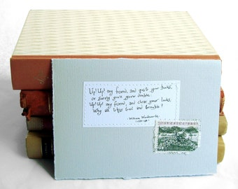 Up! Up! my friend, and quit your books... Pale grey card with handwritten quote and Swedish Stockholm postal stamp